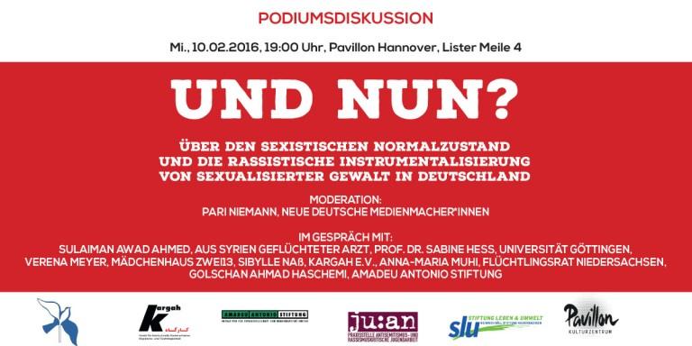 Podiumsdiskussion: Und nun? Über den sexistischen Normalzustand und die rassistische Instrumentalisierung von sexualisierter Gewalt in Deutschland