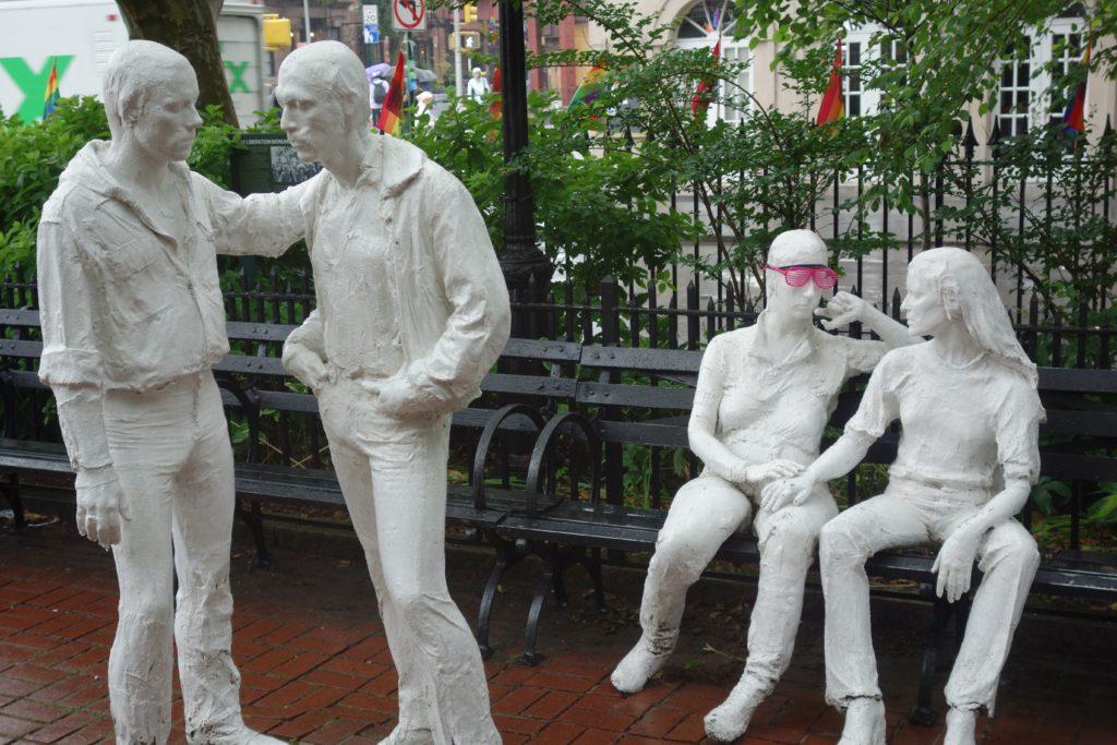 Gay Liberation Monument zur Erinnerung an die Straßenkämpfe gegen die Polizei 1969.